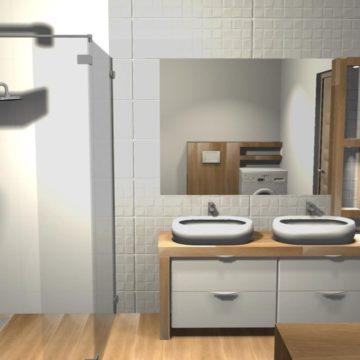 łazienka z oknem i prysznicem